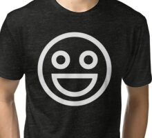 The Internet Generation Collection - Wide Smile Emoji with Open Eyes - White and Black Pattern Tri-blend T-Shirt