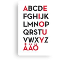 Swedish alphabet Canvas Print