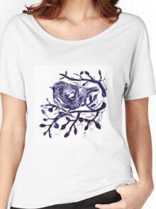 Lino cut  - Cute Bird in Tree Women's Relaxed Fit T-Shirt