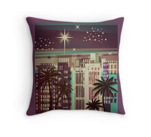 Metro Coastal Skyline Christmas Throw Pillow