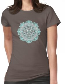 Teal and Aqua Lace Mandala on Grey Womens Fitted T-Shirt