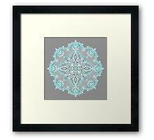 Teal and Aqua Lace Mandala on Grey Framed Print