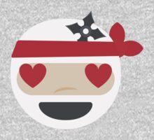 Ninja Emoji Heart and Love Eyes Kids Tee