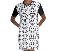 The Internet Generation Collection - Smiling Eyebrows Emoji - Black and White Pattern Graphic T-Shirt Dress