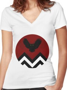 Twin Peaks - Owl Women's Fitted V-Neck T-Shirt