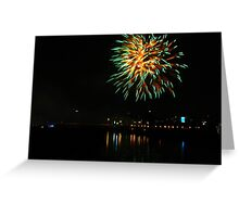 Green fireworks over the river Greeting Card