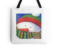 Cute Christmas Snowman with scarf Tote Bag