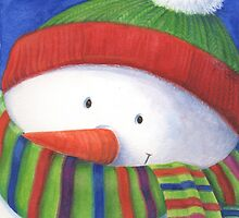 Cute Christmas Snowman with scarf by lizblackdowding