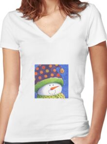 Cute Christmas snowman  Women's Fitted V-Neck T-Shirt