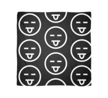 The Internet Generation Collection - Eyes Closed, Tongue Out Emoji - White and Black Pattern Scarf