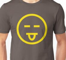 The Internet Generation Collection - Eyes Closed, Tongue Out Emoji - Yellow and White Pattern Unisex T-Shirt