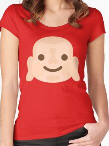 Buddha Emoji Happy Smiling Face Women's Fitted Scoop T-Shirt