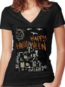 Halloween house Women's Fitted V-Neck T-Shirt
