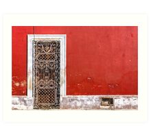 Beautiful Mexican Architecture - Doorway On Vivid Red Wall Art Print