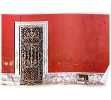 Beautiful Mexican Architecture - Doorway On Vivid Red Wall Poster