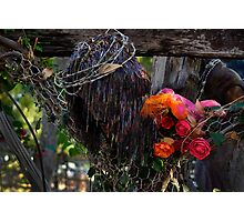 Jesus In Wire And Flowers -01 Photographic Print