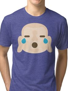Buddha Emoji Teary Eyes and Sad Look Tri-blend T-Shirt