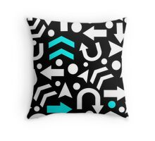 Right Direction - cyan Throw Pillow