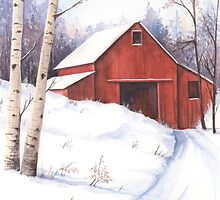 Red barn in the snow by lizblackdowding