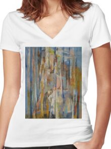 Wild Horses Abstract Women's Fitted V-Neck T-Shirt