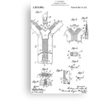 Zipper Patent Art  Canvas Print