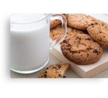 Milk and oatmeal cookies with chocolate Canvas Print