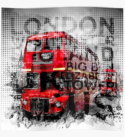 Graphic Art LONDON WESTMINSTER Buses | Typography Poster