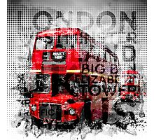 Graphic Art LONDON WESTMINSTER Buses   Typography Photographic Print