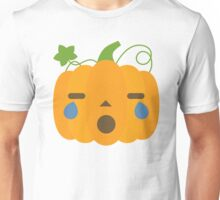 Pumpkin Emoji Teary Eyes and Sad Look Unisex T-Shirt