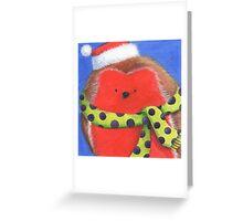 Cute fat Christmas robin Greeting Card
