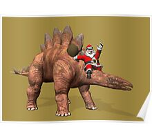 Santa Claus Riding On Stegosaurus Poster
