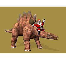 Santa Claus Riding On Stegosaurus Photographic Print