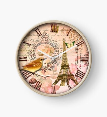037 Wall Clock Eiffel Tower with bird Clock