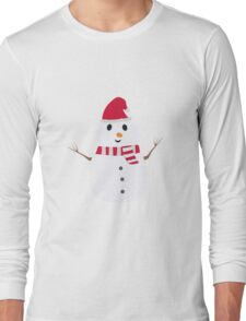 Chirstmas Snowman with winterscarf Long Sleeve T-Shirt
