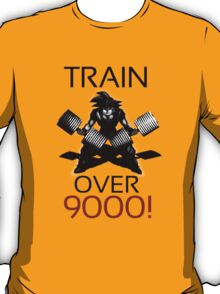 Train over 9000-BW Black Letters T-Shirt