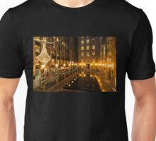Christmas in Bright Gold - Festive Lights and Decorations Reflected in Black Marble Fountain Unisex T-Shirt