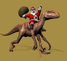 Santa Claus Riding On Deinonychus by Mythos57