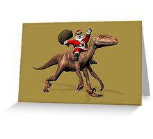 Santa Claus Riding On Deinonychus Greeting Card