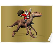 Santa Claus Riding On Deinonychus Poster