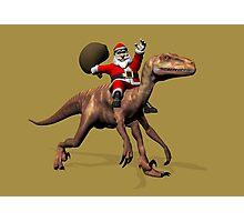 Santa Claus Riding On Deinonychus Photographic Print