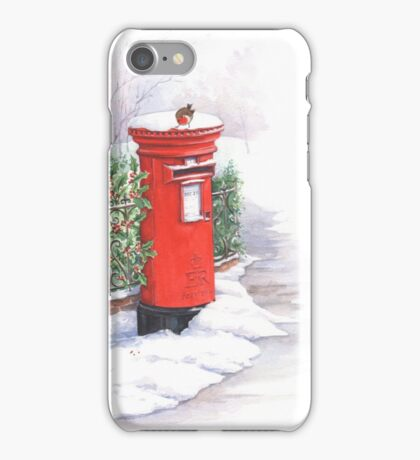 Red letter box in the snow iPhone Case/Skin