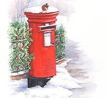 Red letter box in the snow by lizblackdowding
