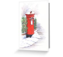 Red letter box in the snow Greeting Card