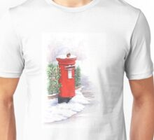 Red letter box in the snow Unisex T-Shirt