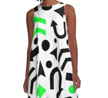 Green Right Direction pattern A-Line Dress