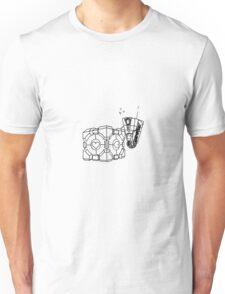 Claptrap and Companion Cube (Black) Unisex T-Shirt