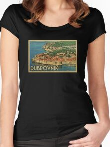 Dubrovnik Vintage Travel T-shirt Women's Fitted Scoop T-Shirt