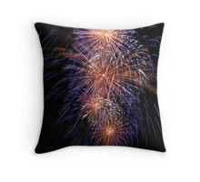Blue fireworks Throw Pillow