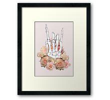 Skeleton hand and Roses Framed Print