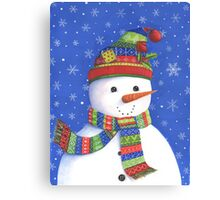 Cute highly detailed snowman Canvas Print